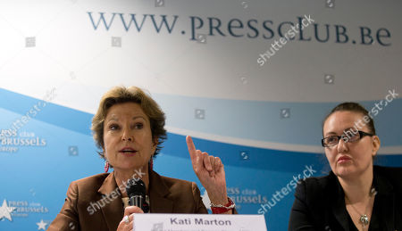 Stock Photo of Kati Marton Board member and former chairperson for the Committee to Protect Journalists, Kati Marton, left, speaks during a media conference in Brussels on . The New York-based Committee to Protect Journalists said in a report on Tuesday's that the 28-nation bloc was struggling to match its lofty human rights standards with its day-to-day actions in protecting journalists around the world