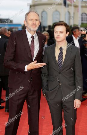 Dutch director Anton Corbjn, left, and US actor Dane DeHaaan arrive for the screening of their film Life at the 41st American Film Festival, Saturday, Sept. 5, 2015, in Deauville, Normandy, western France
