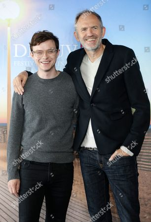 Dutch director Anton Corbjn, right, and US actor Dane DeHaaan pose during a photocall for their film Life at the 41st American Film Festival, in Deauville, Normandy, Western France