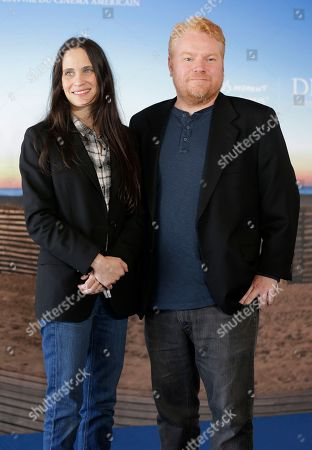 """Screenwriter Amy Koppelman, left, and producer Mike Harrop pose during a photocall for their film """"I smile back"""", at the 41st American Film Festival, in Deauville, Normandy, western France"""