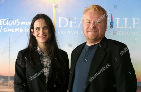 """US Screetwriter Amy Koppelman, left, and US producer Mike Harrop pose during a photocall for their film """"I smile back"""", at the 41st American Film Festival, in Deauville, Normandy, western France"""