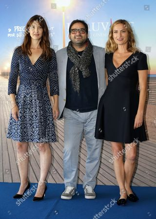 From left, actress Alexia Landeau, actor Russell Steinberg and director Zoe Cassavetes pose during a photocall for their film Day Out of Days, at the 41st American Film Festival, in Deauville, Normandy, western France