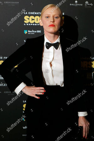 Russian actress Anna Sherbinina poses during the opening of an exhibition of U.S. director Martin Scorsese at the French Cinematheque in Paris, France, . This exhibition dedicated to the American director comes to Paris to pay tribute to Scorsese's body of work