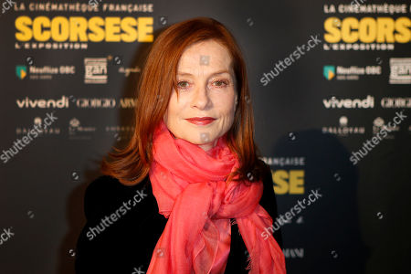 "French actress Isabelle Huppert poses during the opening of an exhibition of U.S. director Martin Scorsese at the French Cinematheque in Paris, France. Isabelle Huppert will be a guest of honor in the upcoming edition of the Morelia International Film Festival. The festival which will be celebrated from Oct. 23 to Nov. 1, 2015, will present some of her films including three titles premiered this year: ""Asphalte"" of Samuel Benchetrit, ""Louder than Bombs"" of Joachim Trier, y ""Valley of Love"" of Guillaume Nicloux"