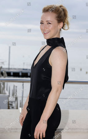 Canadian actress Karine Vanasse poses during a photocall at the MIPCOM 2015 (International Film and Programme Market for Tv, Video,Cable and Satellite) in Cannes, southeastern France, . She presents the serie 'Blue Moon