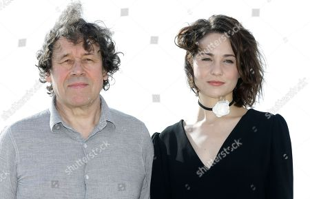 English actress Tuppence Middleton, right, with Irish film and stage actor Stephen Rea pose during a photocall at the MIPCOM 2015 (International Film and Programme Market for Tv, Video,Cable and Satellite) in Cannes, southeastern France, . They present the new serie 'War and Peace