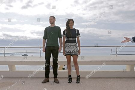 English actress Hannah John-Kamen, right, and Canadian film and television actor Aaron Ashmore pose during a photocall at the MIPCOM 2015 (International Film and Programme Market for Tv, Video,Cable and Satellite) in Cannes, southeastern France, . They present the serie ''Killjoys