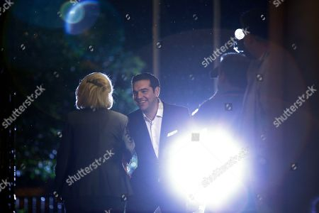 Vassiliki Thanou, Alexis Tsipras Greece's caretaker Prime Minister Vassiliki Thanou, left, welcomes the newly re-elected Prime Minister Alexis Tsipras during a hand out ceremony at Maximos Mansion in Athens, . Syriza's victory Sunday marks a personal triumph for Tsipras, who served as prime minister between January and August - a tumultuous period that saw Greece's future in the 19-country eurozone come under real threat and strict banking controls imposed