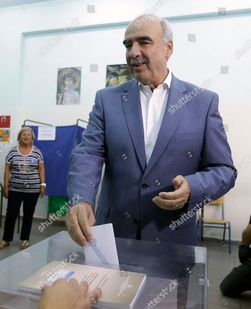 Vangelis Meimarakis Leader of New Democracy main opposition party Vangelis Meimarakis casts his vote at a polling station in Athens, . Greeks were voting Sunday in their third national polls this year, called on to choose who they trust to steer the country into its new international bailout