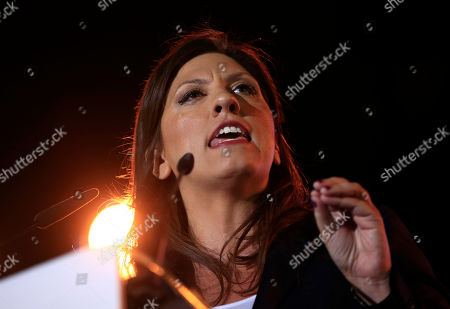 Zoe Konstantopoulou Former speaker of Greek Parliament and candidate with the newly-formed left-wing Popular Unity party Zoe Konstantopoulou addresses supporters during a pre-election rally, in central Athens, . The party broke away from the governing Syriza party ahead of the Sept. 20 general election, hurting its re-election effort