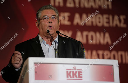 Dimitris Koutsoumpas Dimitris Koutsoumpas, General Secretary of Greece's Communist Party delivers his speech during a pre-election rally in central Athens, . Greece's goes to snap general election on Sept. 20, 2015. It is the third time this year Greeks will be voting, with the economy still in dire straits, a quarter of workers jobless, and capital controls limiting cash access to savings to 420 euros ($470) per week