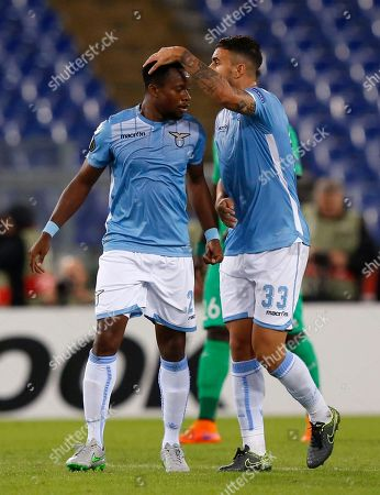 Ogenyi Onazi Mauricio Lazio's Ogenyi Onazi, left, celebrates with teammate Mauricio after scoring during an Europa League Group C soccer match between Lazio and Saint-Etienne, at Rome's Olympic stadium