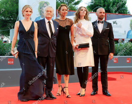 Jerzy Skolimowski, Paulina Chapko, Wojciech Mecwaldowski, Anna Maria Buczek, Agata Buzek From left, actress Paulina Chapko, director Jerzy Skolimowski and actors Anna Maria Buczek, Agata Buzek and Wojciech Mecwaldowski pose during the red carpet of the movie 11 Minutes, at the 72nd edition of the Venice Film Festival in Venice, Italy, . The 72nd edition of the festival runs until Sept. 12