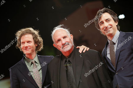 Jake Paltrow, Brian De Palma, Noah Baumbach From left, directors Jake Paltrow, Brian De Palma, and Noah Baumbach pose on the red carpet for the film De Palma and the Glory To The Filmmaker Award 2015 at the 72nd edition of the Venice Film Festival in Venice, Italy, . The 72nd edition of the festival runs until Sept. 12