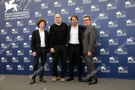 Michel Franco, Guillermo Arriaga, Lorenzo Vigas, Rodolfo Cova From left, producers Michel Franco, Guillermo Arriaga, producer and director Lorenzo Vigas, and Rodolfo Cova pose during the photo call for the movie Desde Alla (From afar) at the 72nd edition of the Venice Film Festival in Venice, Italy, . The 72nd edition of the festival runs until Sept. 12