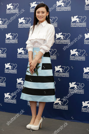 Stock Picture of Shang Yuxian Actress Shang Yuxian poses during the photo call for the movie Lao Pao Er (Mr. Six) at the 72nd edition of the Venice Film Festival in Venice, Italy