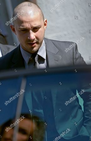 Stock Image of Shia LaBoeuf Actor Shia LaBoeuf arrives for the press conference of the film Man Down at the 72nd edition of the Venice Film Festival in Venice, Italy