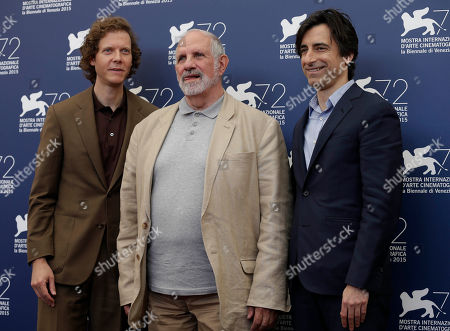 Jake Paltrow, Brian De Palma, Noah Baumbach From left, directors Jake Paltrow, Brian De Palma, and Noah Baumbach attend the photo call for the film De Palma and the Glory To The Filmmaker Award 2015 at the 72nd edition of the Venice Film Festival in Venice, Italy, . The 72nd edition of the festival runs until Sept. 12