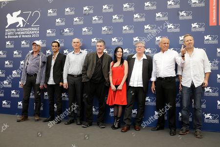 Yitzhak Hiskiya, Yogev Yefet, Pini Mittleman, Amos Gitai, Einat Weizman, Michael Warshaviak, Mordechai Spiegler, Amnon Rechter From left, actors Yitzhak Hiskiya, Yogev Yefet, Pini Mittleman, director Amos Gitai, actors Einat Weizman, Michael Warshaviak, Mordechai Spiegler, and Amnon Rechter pose during the photo call for the film 'Rabin, the last day'' at the 72nd edition of the Venice Film Festival in Venice, Italy