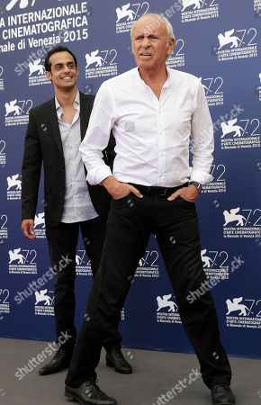 Mordechai Spiegler, Yogev Yefet Actors Mordechai Spiegler, right, and Yogev Yefet pose during the photo call for the film 'Rabin, the last day' at the 72nd edition of the Venice Film Festival in Venice, Italy