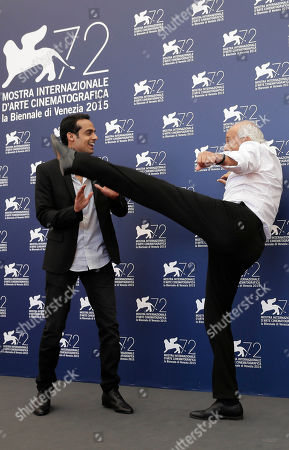 Stock Picture of Mordechai Spiegler, Yogev Yefet Actors Mordechai Spiegler and Yogev Yefet pose during the photo call for the film 'Rabin, the last day' at the 72nd edition of the Venice Film Festival in Venice, Italy
