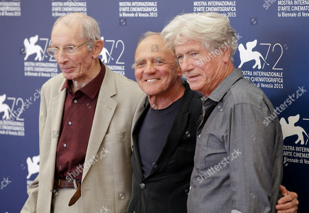 Heinz Lieven, Bruno Granz, Jurgen Prochnow From left, actors Heinz Lieven, Bruno Ganz and Jurgen Prochnow pose during the photo call of the movie Remember, at the 72nd edition of the Venice Film Festival in Venice, Italy, . The 72nd edition of the festival runs until Sept. 12