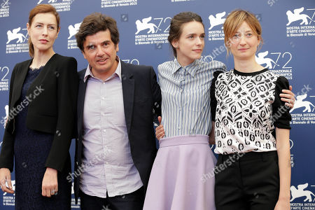 Gina McKee, Nicolas Saada, Stacy Martin, Alba Rohrwacher From left, actress Gina McKee, director Nicolas Saada, actresses Stacy Martin and Alba Rohrwacher pose at the photo call for the movie Taj Mahal at the 72nd edition of the Venice Film Festival in Venice, Italy, . The 72nd edition of the festival runs until Sept. 12