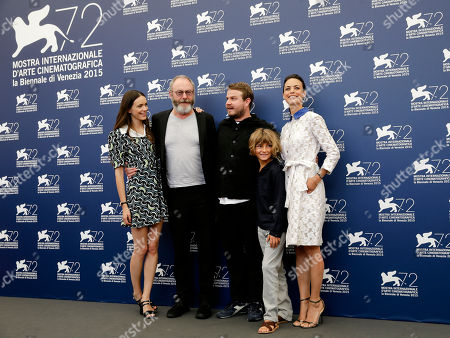 Brady Corbet, Tom Sweet, Berenice Bejo, Stacy Martin, Liam Cunningham From left, actors Stacy Martin, Liam Cunningham, director Brady Corbet, young actor Tom Sweet and actress Berenice Bejo pose during the photo call for the movie The Childhood of a Leader at the 72nd edition of the Venice Film Festival in Venice, Italy, . The 72nd edition of the festival runs until Sept. 12