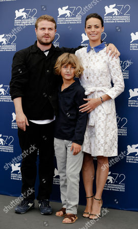 Brady Corbet, Tom Sweet, Berenice Bejo From left, director Brady Corbet, young actor Tom Sweet, and actress Berenice Bejo pose during the photo call for the movie The Childhood of a Leader at the 72nd edition of the Venice Film Festival in Venice, Italy, . The 72nd edition of the festival runs until Sept. 12