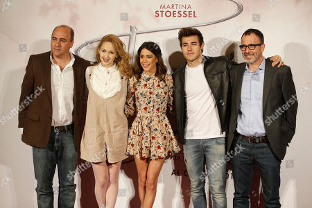 Stock Picture of From left, Juan Pablo Buscarini, of Argentina, Mercedes Lambre, Argentine actress and singer Martina Stoessel, Mexican actor Jorge Blanco and Roberto Manni pose in Milan, Italy