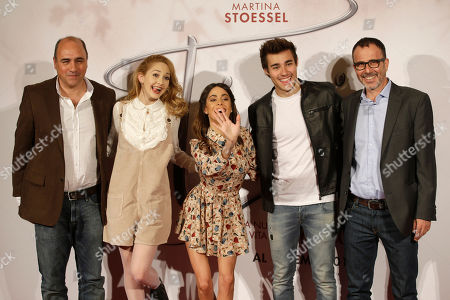 From left, Juan Pablo Buscarini, of Argentina, Mercedes Lambre, Argentine actress and singer Martina Stoessel, Mexican actor Jorge Blanco and Roberto Manni pose in Milan, Italy