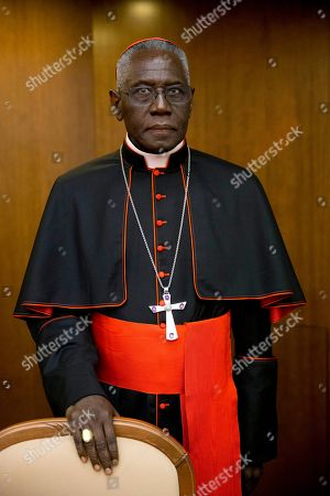 Cardinal Robert Sarah, prefect of the Congregation for Divine Worship and the Discipline of the Sacraments, arrives for the presentation of Cardinal Raymond Leo Burke's book Divine Love Made Flesh, in Rome