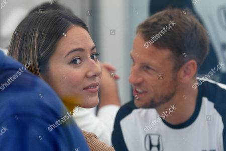 Jenson Button, Jessica Michibata McLaren driver Jenson Button of Britain has a light moment with his wife Jessica Michibata at his hospitality suite at the Suzuka Circuit ahead of the Japanese Formula One Grand Prix in Suzuka, central Japan