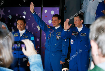 Aydyn Aimbetov, Sergei Volkov, Andreas Mogensen From left: Kazakhstan's cosmonaut Aydyn Aimbetov, Russian cosmonaut Sergei Volkov and Denmark's astronaut Andreas Mogensen, members of the main crew of the mission to the International Space Station (ISS), wave to their relatives near a bus prior the launch of Soyuz-FG rocket at the Russian leased Baikonur cosmodrome, Kazakhstan
