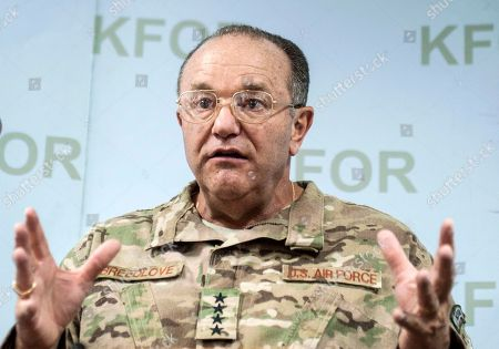 NATO's Supreme Allied Commander for Europe (SACEUR) US General Philip Breedlove gestures during a press conference at the KFOR military headquarters in capital Pristina, Kosovo, on