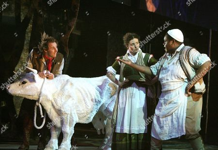 'Into The Woods' - Peter Caulfield (Jack), Anna Francolini (Baker's Wife) and Clive Rowe (Baker)