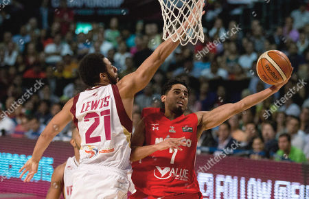Jorge Gutierrez, Dwight Lewis Mexico's Jorge Gutierrez, right, goes for a shot over Venezuela's Dwight Lewis, left, during a FIBA Americas Championship basketball game in Mexico City