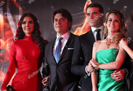 """Cast members of the new soap opera """"Pasion y Poder,"""" from left, Marlene Favela, Joege Salinas, Alejandro Nones Daniel and Atair Jarabo, pose for pictures at a press presentation in Mexico City, . """"Pasion y Poder"""" is the latest soap opera from the Mexican TV network Televisa"""
