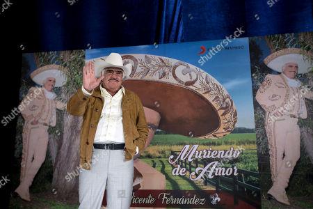 "Vicente Fernandez Mexican ranchera music singer and actor Vicente Fernandez poses for photographers during a news conference in Tlajomulco de Zuniga, Mexico, . The ranchera music icon unveiled his new album, ""Muriendo de Amor"