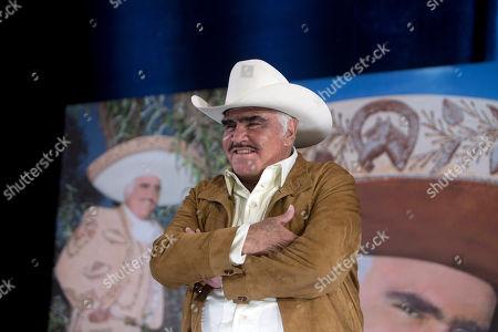 """Vicente Fernandez Mexico's """"King of Ranchera"""" Vicente Fernandez speaks during a news conference in Tlajomulco de Zuniga, Mexico, . The ranchera music icon unveiled his new album, """"Muriendo de Amor"""