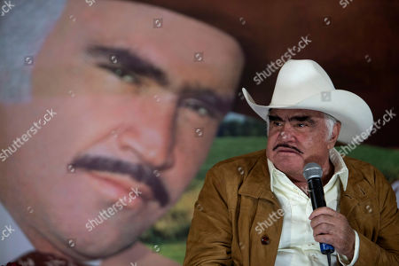 "Vicente Fernandez Mexican ranchera music singer and actor Vicente Fernandez speaks during a news conference in Tlajomulco de Zuniga, Mexico, . The ranchera music icon unveiled his new album, ""Muriendo de Amor"