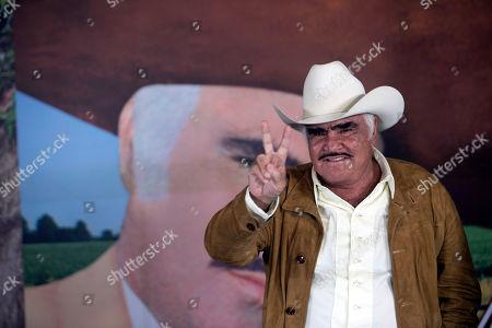 "Vicente Fernandez Mexican ranchera music singer and actor Vicente Fernandez poses for photographers during a news conference in Tlajomulco de Zuniga, Mexico, . The ranchera music icon unveiled his album, ""Muriendo de Amor"