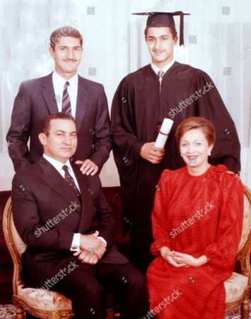 Hosni Mubarak, Suzanne Mubarak, Alaa Mubarak, Gamal Mubarak From 1984, Egypt's then President Hosni Mubarak, bottom left, poses with his wife, Suzanne, right, his son, Alaa, top left, and son, Gamal Mubarak, top right, on the day Gamal graduated from the American University of Cairo. An Egyptian court, has ordered the release of the sons of deposed autocrat Hosni Mubarak, Gamal, Mubarak's one-time heir apparent, and his brother Alaa, a wealthy businessman, after time served on a corruption conviction. Their father remains held in a military hospital