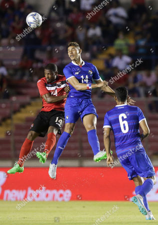 Valentin Pimentel, Andre Boucaud Panama's Valentin Pimentel, second right, and Trinidad and Tobago's Andre Boucaud, left, head the ball during a friendly soccer match in Panama City
