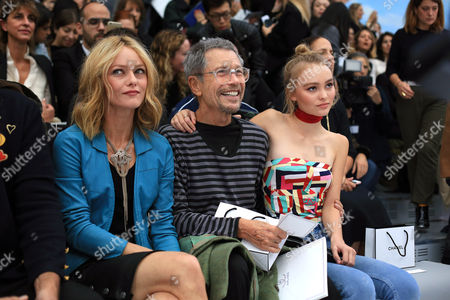 From left, French actress and singer Vanessa Paradis, French photogrpaher Jean-Paul Goude and Lily Rose Deep, pose before the start of Chanel' Spring-Summer 2016 ready-to-wear fashion collection presented during the Paris Fashion Week, in Paris, France