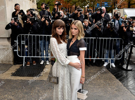 Stock Image of Australian singers Miranda, left, and Elektra Kilbey of the group Say Lou Lou pose before Chanel's Spring-Summer 2016 ready-to-wear fashion collection presented during the Paris Fashion Week, in Paris, France