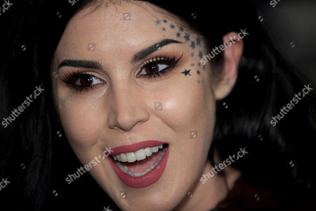 Kat Von D Tattoo artist Kat Von D speaks with the media during the presentation of her new line of makeup in Madrid. Von D said in a YouTube video on July 19, 2016, that she had cut ties with makup artist Jeffree Star over a payment dispute involving a mutual friend
