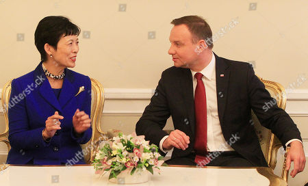 Andrzej Duda, Hisako Takamado Japan's Princess Hisako Takamado, left, and Poland's President Andrzej Duda chat during a meeting in the Presidential Palace in Warsaw, Poland, on . Princess Takamado will also attend hearing of the 17th International Frederic Chopin Piano Competition, where Japanese pianists take part, and she will attend the Warsaw Film Festival
