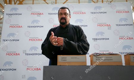 Steven Seagal U.S. actor Steven Seagal prepares to lay a symbolic brick while attending an opening ceremony for a research and development center in Moscow, Russia, on . Steven Seagal is in Moscow as a brand innovations 'ambassador' of a Russian IT company