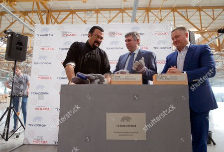 Steven Seagal U.S. Actor Steven Seagal, left, prepares to lay a symbolic brick while attending an opening ceremony for a research and development center in Moscow, Russia, on . Steven Seagal is in Moscow as a brand innovations 'ambassador' of a Russian IT company